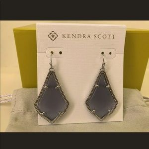 NWT Kendra Scott Slate Cats Eye Rhodium Alex Drops